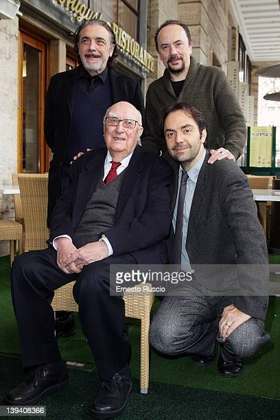 Nino Frassica Andrea Camilleri Maurizio Casagrande and Neri Marcore attend 'La Scomparsa Di Pato' photocall at Alfredo Restaurant on February 20 2012...