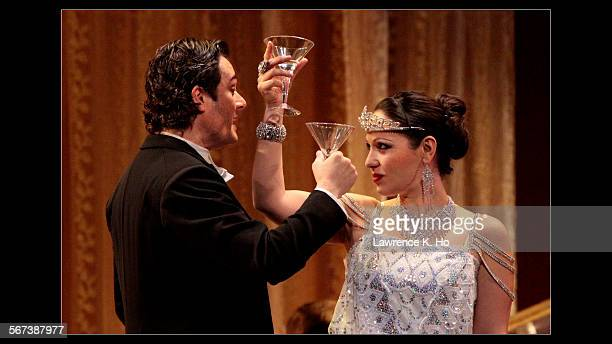 LOS ANGELES CA SEP 11 2014 Nino Machaidze as Violetta and Arturo Chac—nCruz as Alfredo in the dress rehearsal of LA Opera's new season opener La...