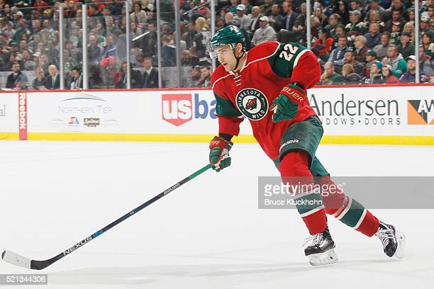 Nino Niederreiter of the Minnesota Wild skates against the San Jose Sharks during the game on April 5 2016 at the Xcel Energy Center in St Paul...