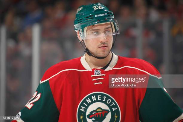 Nino Niederreiter of the Minnesota Wild waits for play to resume during the game against the Tampa Bay Lightning on February 10 2017 at the Xcel...