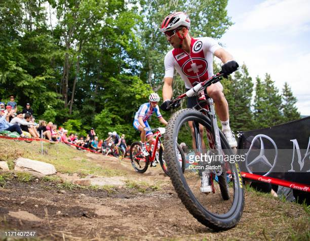 Nino Schurter of Switzerland during the men's Elite Cross-country Olympic distance race at the UCI Mountain Bike World Championships at...