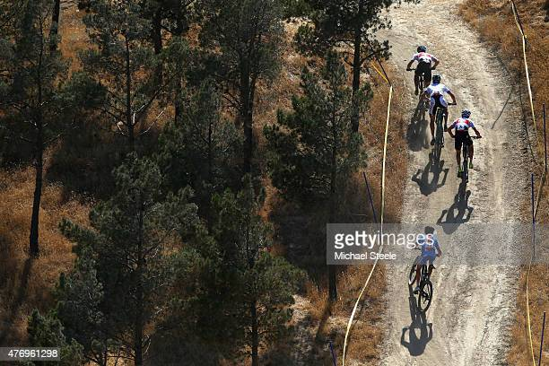 Nino Schurter of Switzerland leads in the Mens' Crosscountry Mountain Bike Cycling during day one of the Baku 2015 European Games at Mountain Bike...