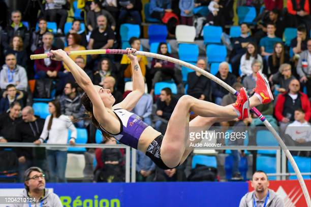 Ninon GUILLON-ROMARIN of France celebrates during the France Elite indoor championships on February 29, 2020 in Lievin, France.