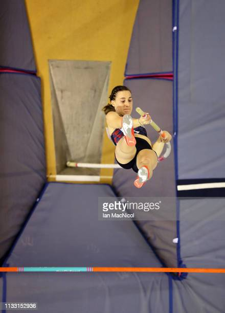 Ninon Guillon-Romarin of France competes during the Women's Pole Vault during the European Athletics Indoor Championships - Day Two at the Emirates...