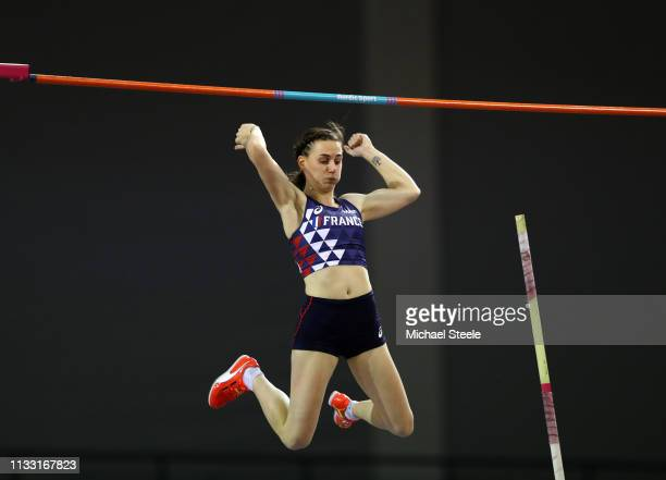 Ninon Guillon-Romarin of France competes during the Womens Pole Vault during the 2019 European Athletics Indoor Championships - Day Two at the...