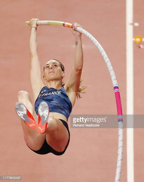 Ninon Guillon-Romarin of France competes in the Women's Pole Vault final during day three of 17th IAAF World Athletics Championships Doha 2019 at...