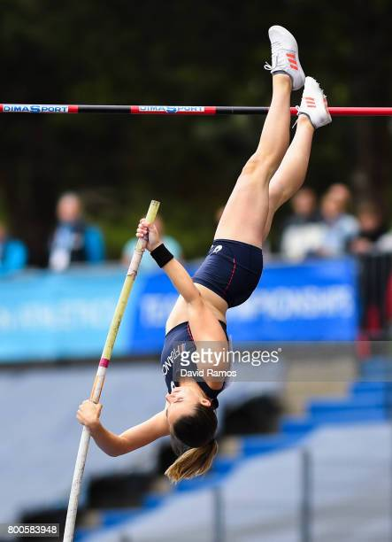 Ninon Guillon-Romarin of France competes in the Women's pole Vault Final during day two of the European Athletics Team Championships at the Lille...