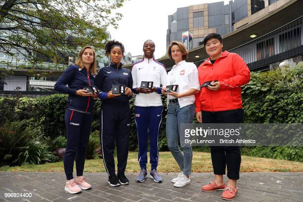 Ninon GuillonRomarin of France Queen Harrison of the USA Lorraine Ugen of Great Britain Anna JagaciakMichalska of Poland and Gong Lijao of China pose...