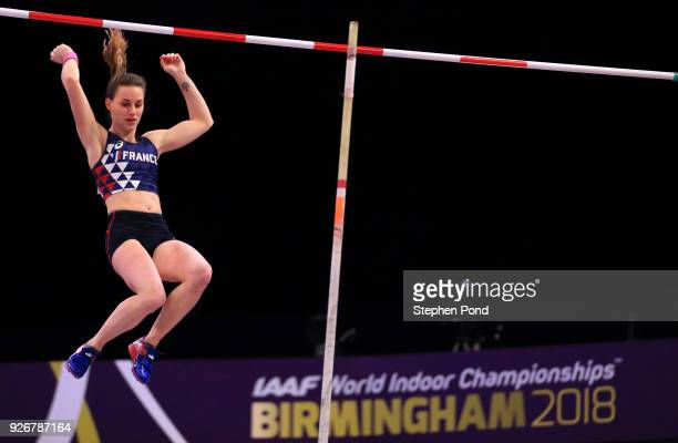 Ninon Guillon-Romarin ofFrance competes in the Pole Vault Womens Final during the IAAF World Indoor Championships on Day Three at Arena Birmingham on...