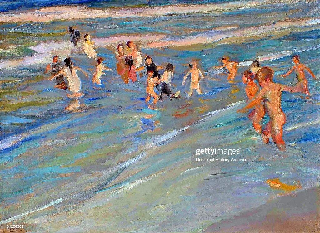 Ninos Jugando En La Playa Valencia, . Painted By Joaquin