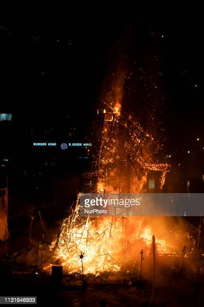 A 'ninot' burns during the last day of the Las Fallas Festival on March 19 2019 in Valencia Spain The Fallas is Valencias most international festival...