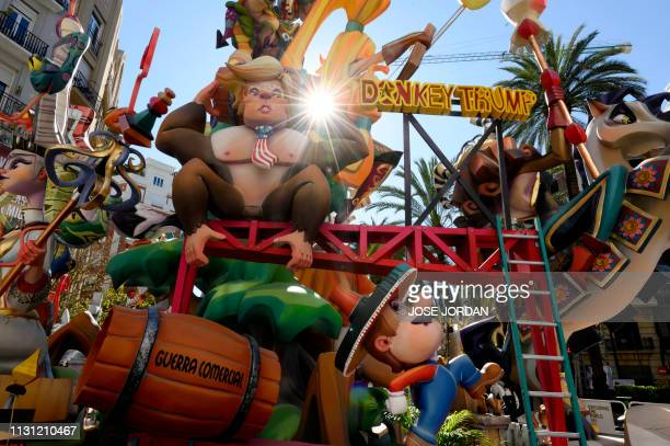 A ninot depicting a gorilla with the face of US president Donald Trump is pictured in the Antiguo Reino falla during the Fallas festival in Valencia...