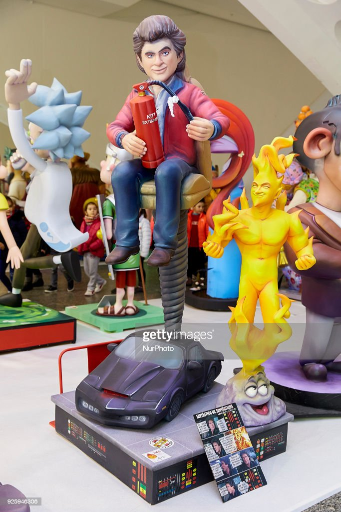 A 'ninot' (puppet) depicting American actor David Hasselhoff is displayed during the Ninot exhibition ahead of Las Fallas Festival at Museo de Las Ciencias Principe Felipe on March 1, 2018 in Valencia, Spain. The Fallas is Valencias most international festival, which runs from March 15 until March 19 and celebrates the arrival of spring with fireworks, fiestas and bonfires made by large puppets named Ninots. During the months preceding this unique festivity, a lot of hard work and dedication is put into preparing the monumental and ephemeral cardboard statues that will be devoured by the flames. The festival has been designated as a UNESCO Intangible Cultural Heritage of Humanity since 2016.