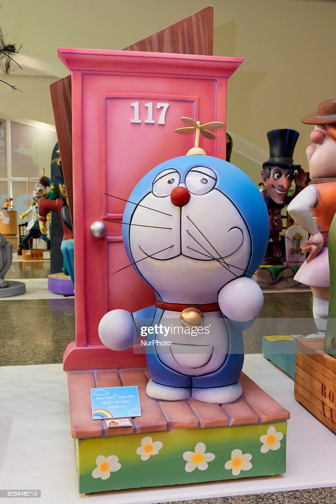A 'ninot' (puppet) depicting cartoon character Doraemon is displayed during the Ninot exhibition ahead of Las Fallas Festival at Museo de Las Ciencias Principe Felipe on March 1, 2018 in Valencia, Spain. The Fallas is Valencias most international festival, which runs from March 15 until March 19 and celebrates the arrival of spring with fireworks, fiestas and bonfires made by large puppets named Ninots. During the months preceding this unique festivity, a lot of hard work and dedication is put into preparing the monumental and ephemeral cardboard statues that will be devoured by the flames. The festival has been designated as a UNESCO Intangible Cultural Heritage of Humanity since 2016.