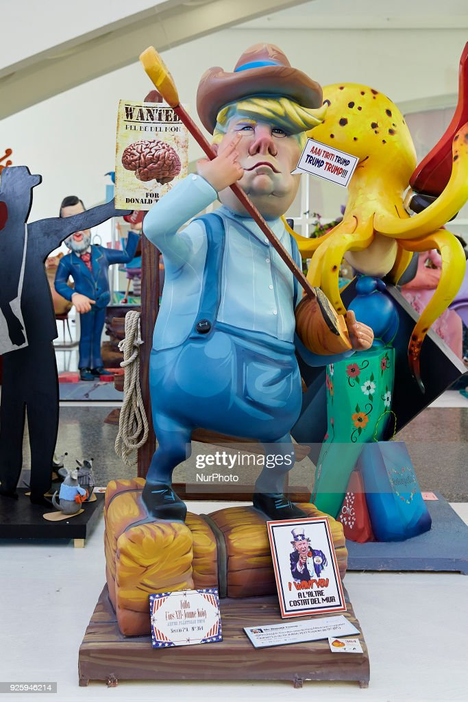 A 'ninot' (puppet) depicting United States President Donald Trump is displayed during the Ninot exhibition ahead of Las Fallas Festival at Museo de Las Ciencias Principe Felipe on March 1, 2018 in Valencia, Spain. The Fallas is Valencias most international festival, which runs from March 15 until March 19 and celebrates the arrival of spring with fireworks, fiestas and bonfires made by large puppets named Ninots. During the months preceding this unique festivity, a lot of hard work and dedication is put into preparing the monumental and ephemeral cardboard statues that will be devoured by the flames. The festival has been designated as a UNESCO Intangible Cultural Heritage of Humanity since 2016.