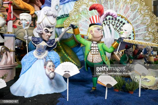 Ninots' depict former Prime Minister of Spain, Jose Maria Aznar and Former U.S. President Donald Trump during the Fallas Festival on September 02,...