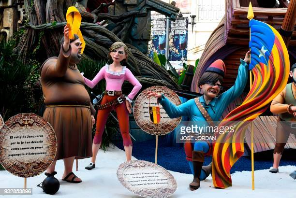 Ninots of the Falla Almirante Cadraso depicting Catalonia's deposed leader Carles Puigdemont and deposed vice president and ERC leader Oriol...