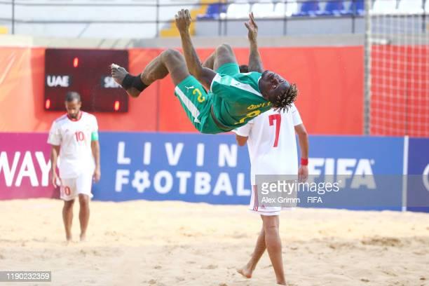 Ninou Diatta of Senegal celebrates a goal during the FIFA Beach Soccer World Cup Paraguay 2019 group C match between United Arab Emirates at Estadio...