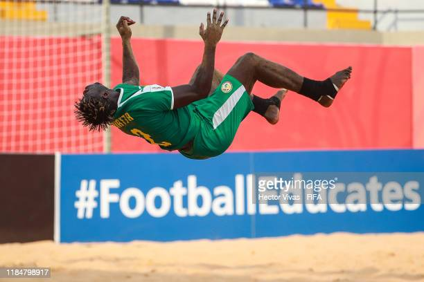 Ninou Diatta of Senegal celebrates after scoring a goal of his team during the FIFA Beach Soccer World Cup Paraguay 2019 group C match between United...