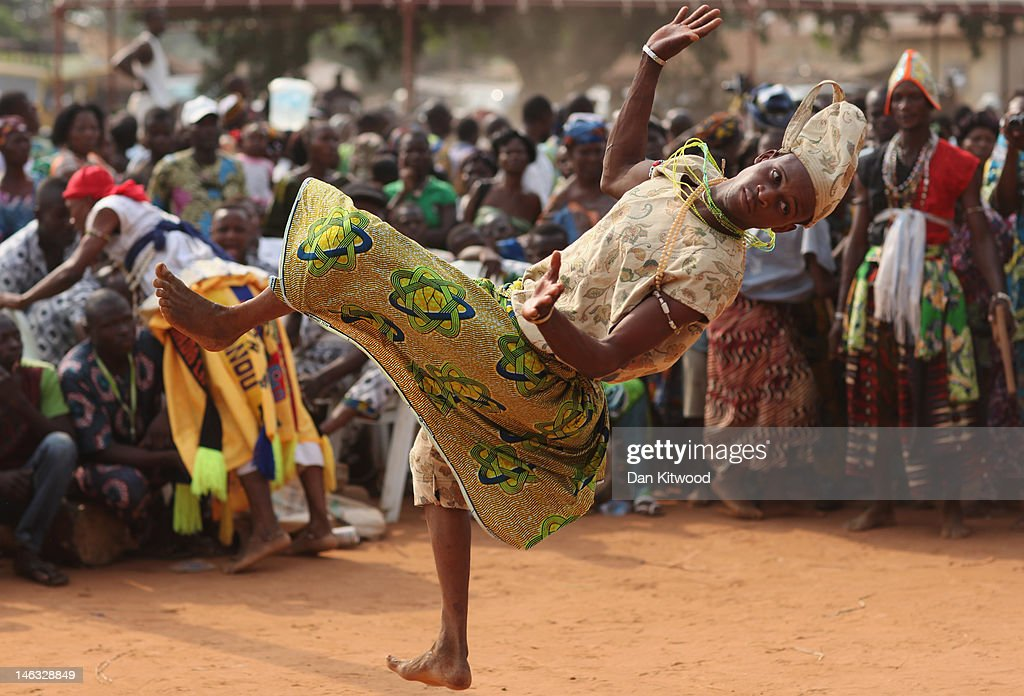 Ninssouhoue dancers perform at a Voodoo Ceremony on January
