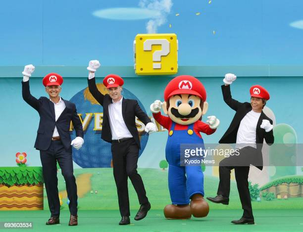 Nintendo Co's iconic character Mario joins the groundbreaking ceremony of 'Super Nintendo World' a new attraction of Universal Studios Japan in Osaka...