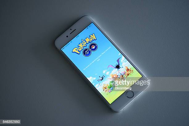 Nintendo Co's Pokemon Go is displayed on a smartphone in Tokyo Japan on Tuesday July 12 2016 Pokemon Go debuted last week on iPhones and Android...