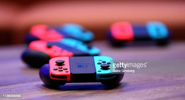 Nintendo JoyCon wireless controllers for the Nintendo Switch are displayed during the debut of Allied Esports' PlayTime With KittyPlays esports...