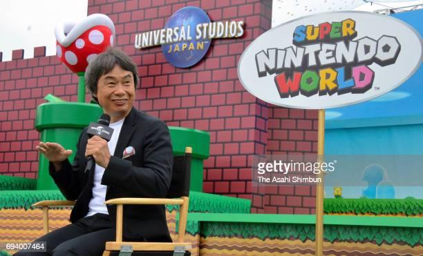 Nintendo Representative Director Shigeru Miyamoto attends the new attraction 'Super Nintendo World' area groundbreaking ceremony at the Universal...