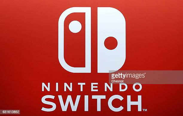 Nintendo Switch logo is displayed during the new Nintendo Switch console unveiling by Nintendo Co on January 13 2017 in Paris France This...