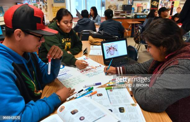 Ninth graders work on their poster projects in Leticia Jenkins Health Education class at James Monroe High School in North Hills California on May 18...