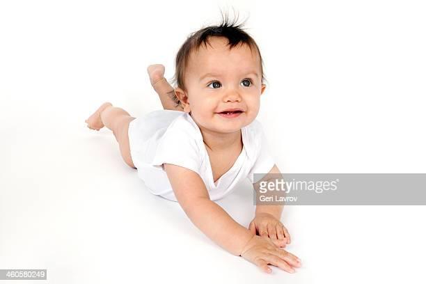 Ninth month baby boy smiling