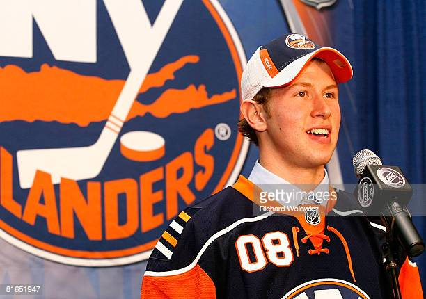 Ninth overall pick Josh Bailey of the New York Islanders is interviewed after being selected during the 2008 NHL Entry Draft at Scotiabank Place on...