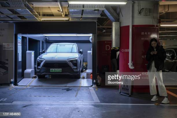 Nio Inc. ES6 electric sport utility vehicle at a battery swap station inside a parking lot in Shanghai, China, on Monday, March 1, 2021. Chinese...
