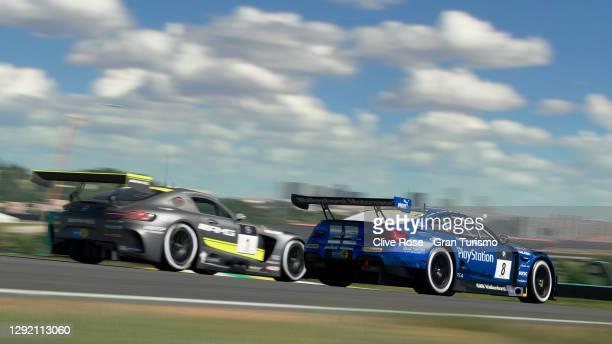 Niolas Rubilar of Chile and BMW battles with Cody Nikola Latkovski of Australia and Mercedes during the FIA Manufacturer Series Gran Turismo World...