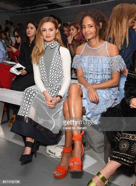 Niomi Smart and Malaika Firth attend the Bora Aksu show during London Fashion Week September 2017 at BFC Show Space on September 15 2017 in London...