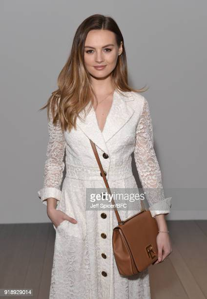 Niomi Smart attends the Bora Aksu show during London Fashion Week February 2018 at BFC Show Space on February 16 2018 in London England