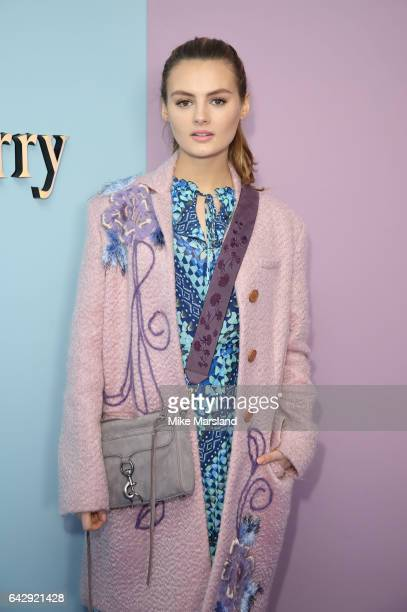 Niomi Smart attends the Mulberry show during the London Fashion Week February 2017 collections on February 19 2017 in London England
