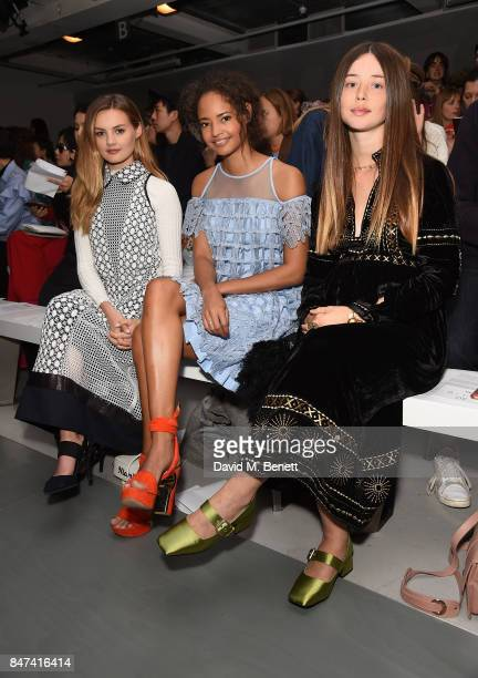 Niomi Smart Malaika Firth and Flo Morrissey attend the Bora Aksu show during London Fashion Week September 2017 at BFC Show Space on September 15...