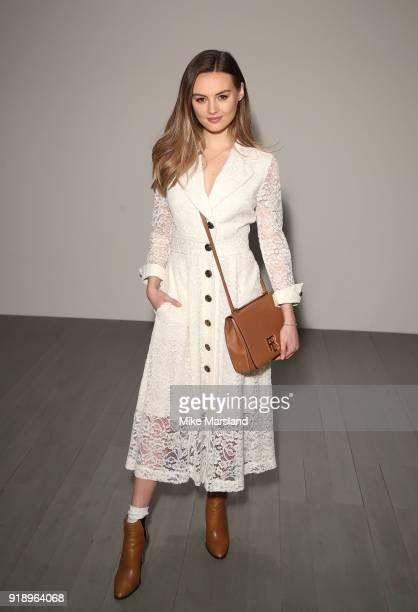 Niomi Smartt attends the Bora Aksu show during London Fashion Week February 2018 at on February 16 2018 in London England