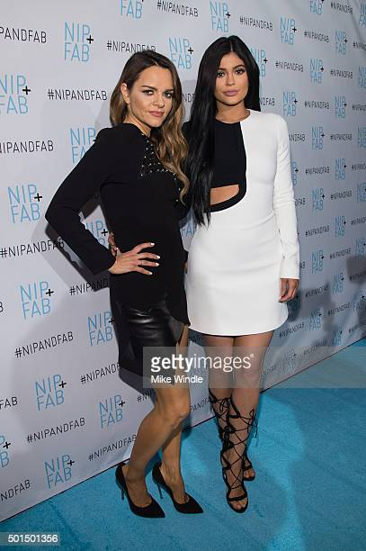 Nip Fab founder Maria Hatzistefanis and Kylie Jenner pose during her announcement as brand ambassador for Nip Fab at W Hollywood on December 15 2015...