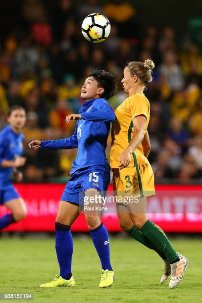 Nipawan Panyosuk of Thailand and Aivi Luik of the Matildas contest for the ball during the International Friendly Match between the Australian...