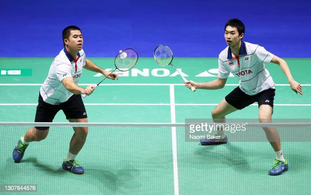Nipitphon Phuangphuapet and Tanupat Virgiyangkura of Thailand in action during their first round match against Ruben Jille and Ties Van Der Lecq of...