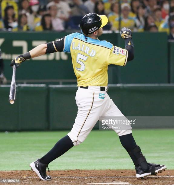 Nippon Ham Fighters' Brandon Laird hits a tworun homer in the third inning against the Lotte Marines at Tokyo Dome on May 13 becoming the 20th player...