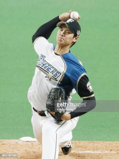 Nippon Ham Fighters pitcher Shohei Otani gets the start in a home game against the SoftBank Hawks in Sapporo Hokkaido on Aug 31 2017 ==Kyodo