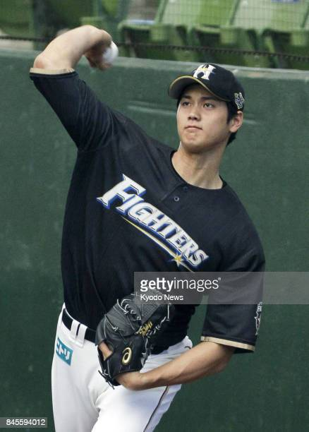 Nippon Ham Fighters pitcher Shohei Otani throws a bullpen session at MetLife Dome in Tokorozawa Saitama Prefecture on Sept 10 ahead of the third...