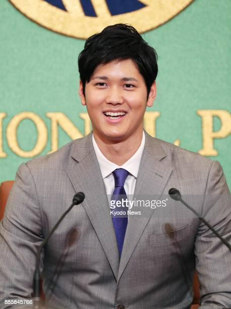 Nippon Ham Fighters pitcherslugger Shohei Otani holds a press conference at the Japan National Press Club in Tokyo on Nov 11 2017 ==Kyodo