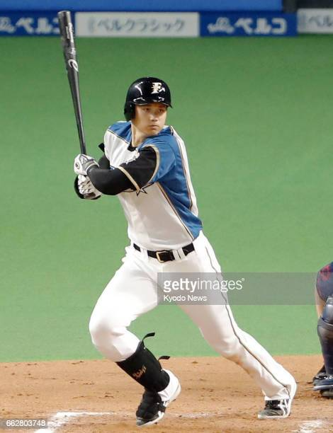 Nippon Ham Fighters superstar Shohei Otani gets his third hit during the seventh inning of a game against the Seibu Lions on April 1 at Sapporo Dome...