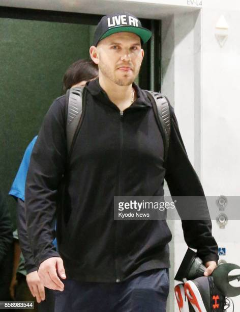 Nippon Ham Fighters third baseman Brandon Laird leaves Sapporo Dome on Oct 3 to return to the United States after learning that a female relative has...