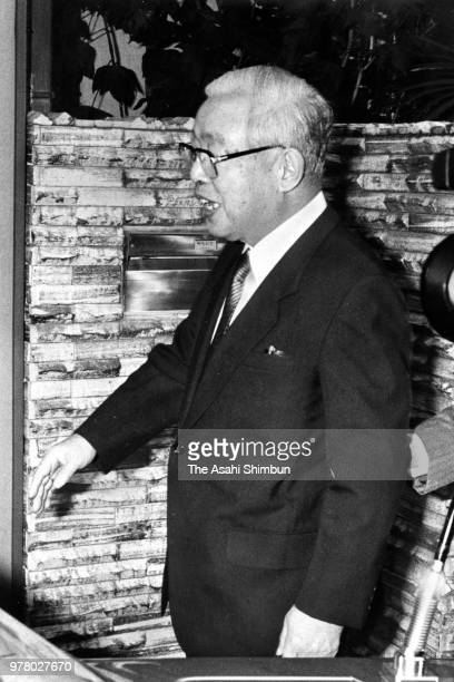 Nippon Telegraph and Telephone Chairman HIsashi Shinto is seen on departure at his home on December 14 1988 in Tokyo Japan