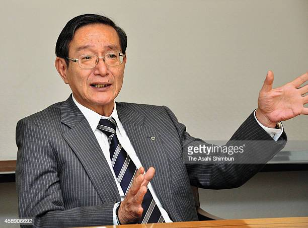 Nippon Telegraph and Telephone Corp President Hiroo Unoura speaks during the Asahi Shimbun interview at their headquarters on November 13 2014 in...